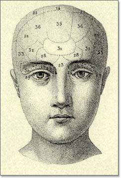 The complete encyclopaedia of illustration . J.G.Hecl. Plate 121, Illustrating the psychological relations of the brain (phrenology) Fig.18, Dibujo de Rostro y áreas cerebrales.